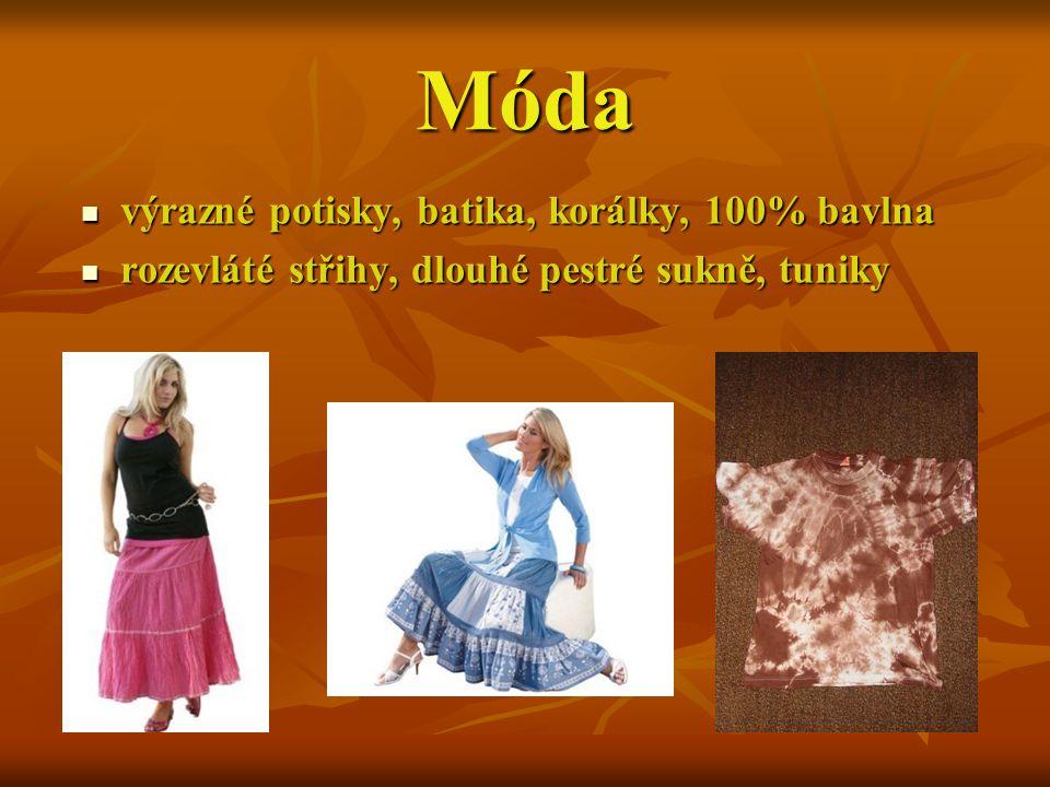 Móda výrazné potisky, batika, korálky, 100% bavlna výrazné potisky, batika, korálky, 100% bavlna rozevláté střihy, dlouhé pestré sukně, tuniky rozevlá