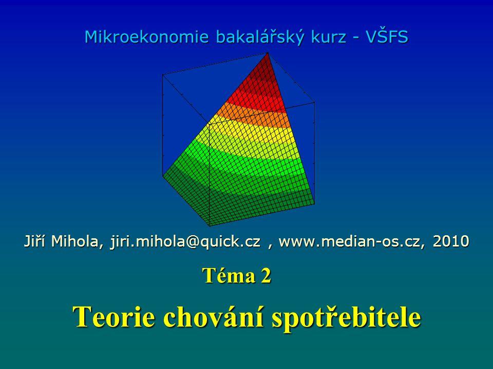 Teorie chování spotřebitele Mikroekonomie bakalářský kurz - VŠFS Jiří Mihola, jiri.mihola@quick.cz, www.median-os.cz, 2010 Téma 2