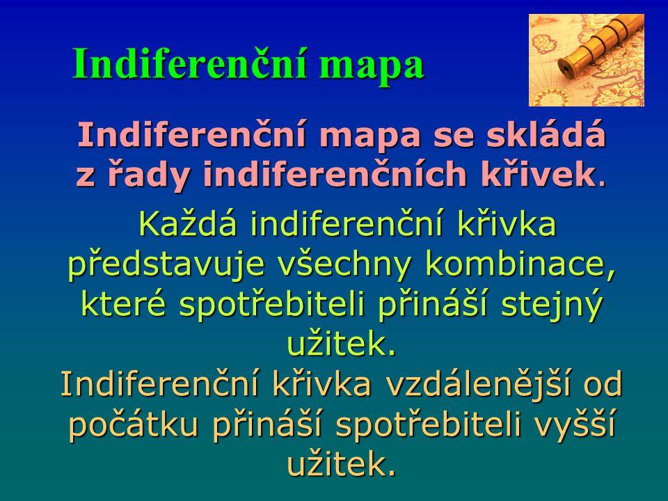 Indiferenční mapa Indiferenční mapa se skládá z řady indiferenčních křivek. Každá indiferenční křivka představuje všechny kombinace, které spotřebitel