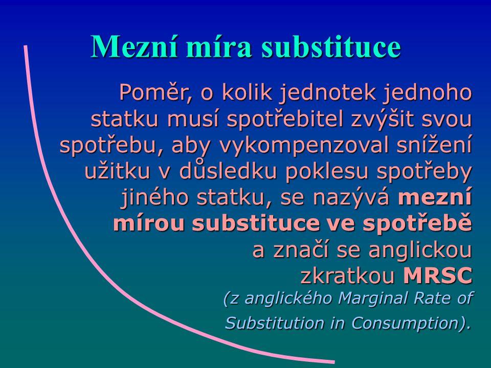 Mezní míra substituce Poměr, o kolik jednotek jednoho statku musí spotřebitel zvýšit svou spotřebu, aby vykompenzoval snížení užitku v důsledku pokles