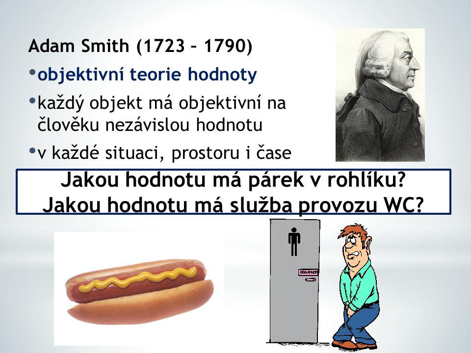Adam Smith (1723 – 1790) objektivní teorie hodnoty každý objekt má objektivní na člověku nezávislou hodnotu v každé situaci, prostoru i čase Jakou hodnotu má párek v rohlíku.