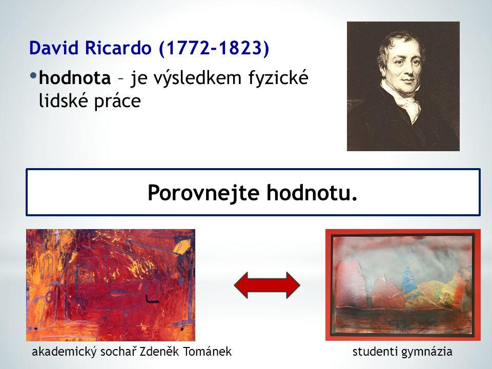 David Ricardo (1772-1823) hodnota – je výsledkem fyzické lidské práce Porovnejte hodnotu.