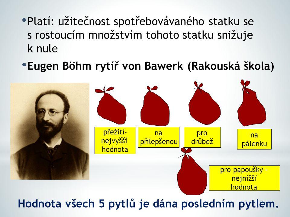 Platí: užitečnost spotřebovávaného statku se s rostoucím množstvím tohoto statku snižuje k nule Eugen Böhm rytíř von Bawerk (Rakouská škola) přežití- nejvyšší hodnota na přilepšenou pro drůbež na pálenku pro papoušky – nejnižší hodnota Hodnota všech 5 pytlů je dána posledním pytlem.