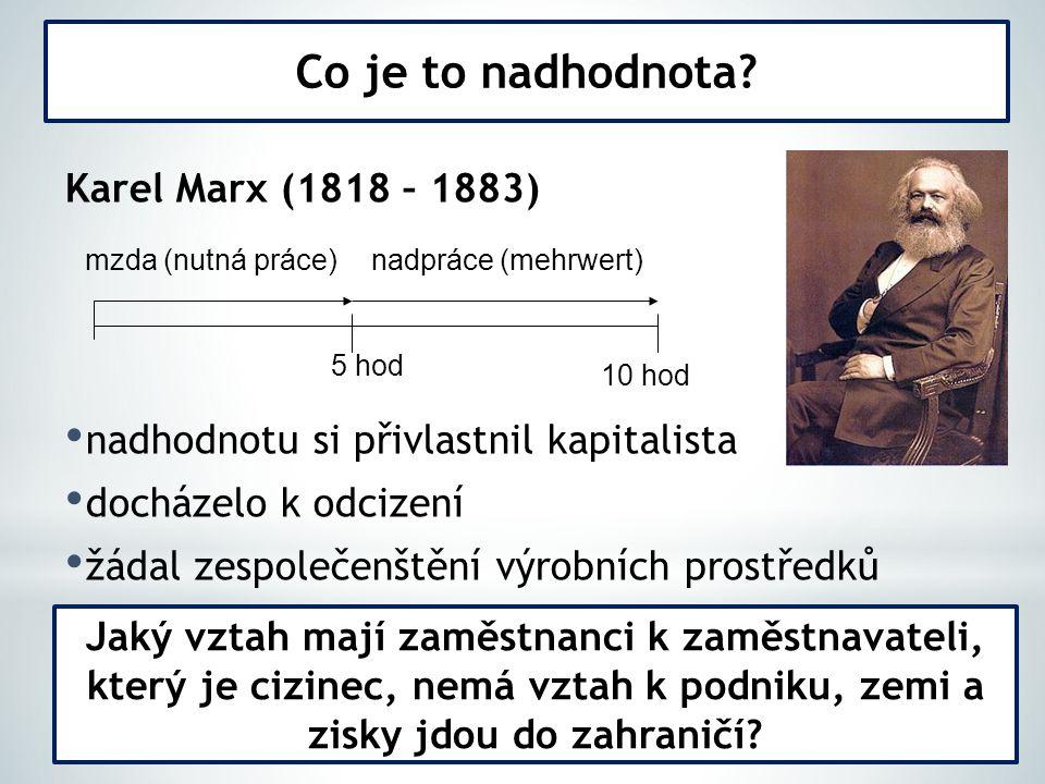 Karel Marx (1818 – 1883) nadhodnotu si přivlastnil kapitalista docházelo k odcizení žádal zespolečenštění výrobních prostředků Co je to nadhodnota.