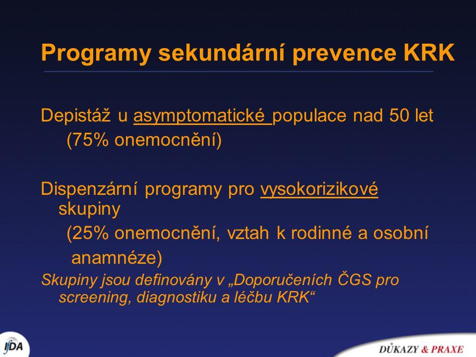 """Programy sekundární prevence KRK Depistáž u asymptomatické populace nad 50 let (75% onemocnění) Dispenzární programy pro vysokorizikové skupiny (25% onemocnění, vztah k rodinné a osobní anamnéze) Skupiny jsou definovány v """"Doporučeních ČGS pro screening, diagnostiku a léčbu KRK"""