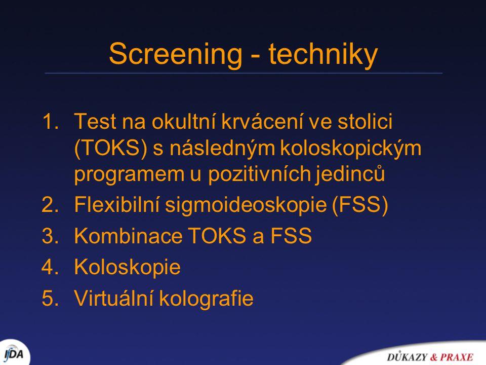 Screening - techniky 1.Test na okultní krvácení ve stolici (TOKS) s následným koloskopickým programem u pozitivních jedinců 2.Flexibilní sigmoideoskopie (FSS) 3.Kombinace TOKS a FSS 4.Koloskopie 5.Virtuální kolografie