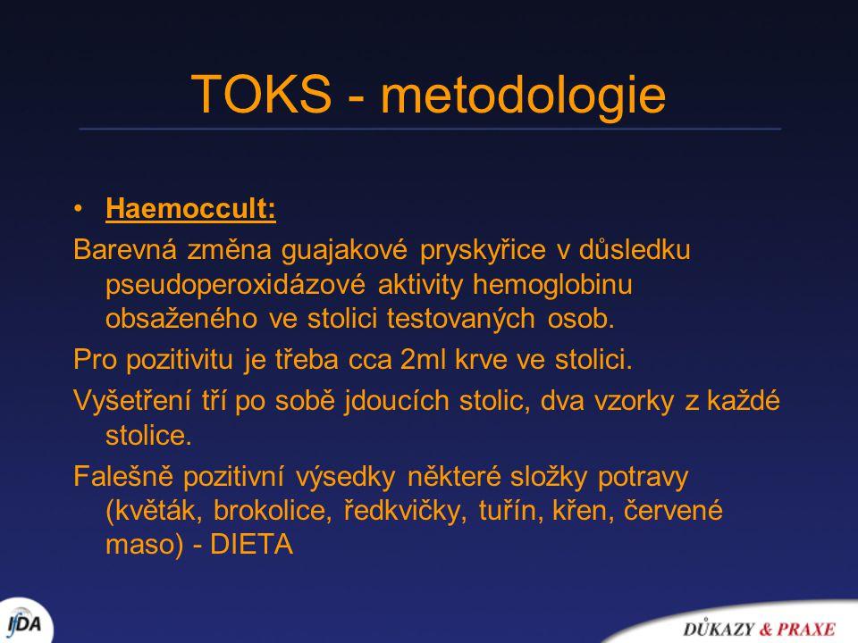 TOKS - metodologie Haemoccult: Barevná změna guajakové pryskyřice v důsledku pseudoperoxidázové aktivity hemoglobinu obsaženého ve stolici testovaných osob.