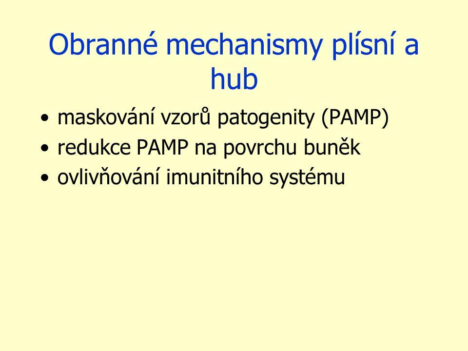 Obranné mechanismy plísní a hub maskování vzorů patogenity (PAMP) redukce PAMP na povrchu buněk ovlivňování imunitního systému