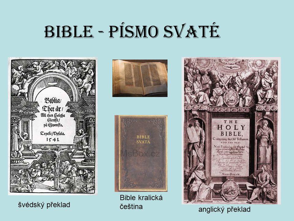 BIBLE - Písmo svaté švédský překlad anglický překlad Bible kralická čeština