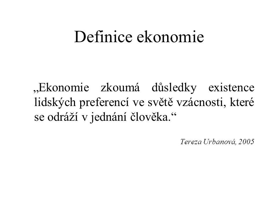 """Definice ekonomie """"Ekonomie zkoumá důsledky existence lidských preferencí ve světě vzácnosti, které se odráží v jednání člověka. Tereza Urbanová, 2005"""