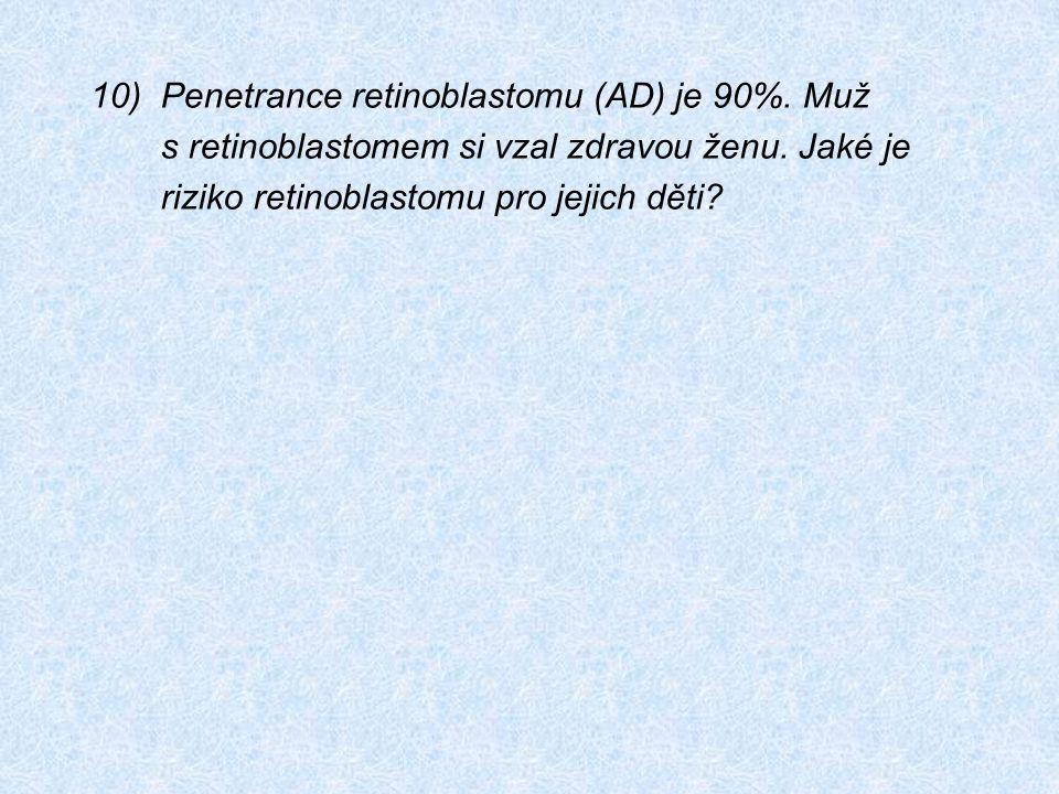 10)Penetrance retinoblastomu (AD) je 90%. Muž s retinoblastomem si vzal zdravou ženu. Jaké je riziko retinoblastomu pro jejich děti?