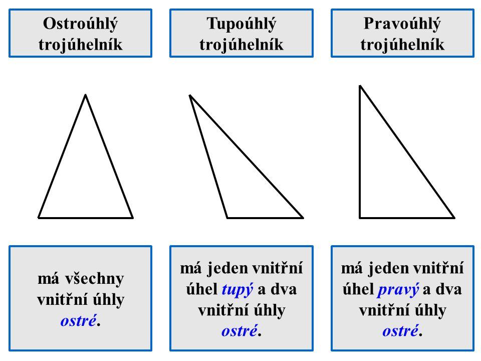 Ostroúhlý trojúhelník Tupoúhlý trojúhelník Pravoúhlý trojúhelník má všechny vnitřní úhly ostré. má jeden vnitřní úhel tupý a dva vnitřní úhly ostré. m
