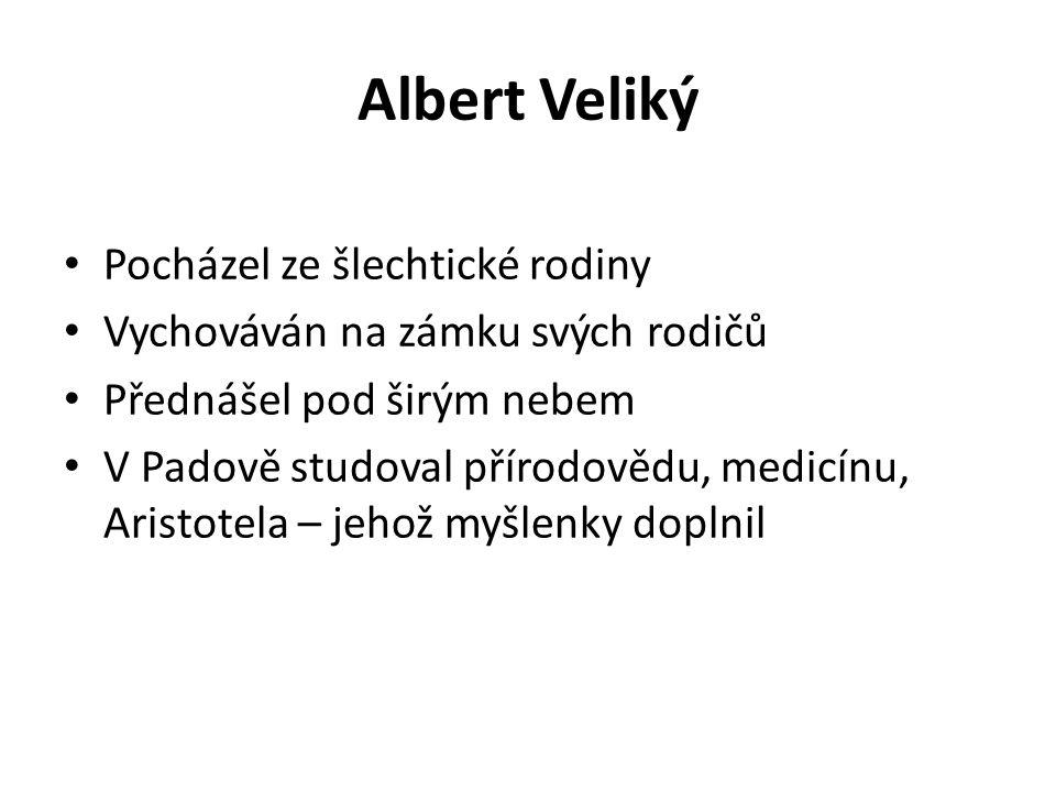 Albert Veliký Pocházel ze šlechtické rodiny Vychováván na zámku svých rodičů Přednášel pod širým nebem V Padově studoval přírodovědu, medicínu, Aristo