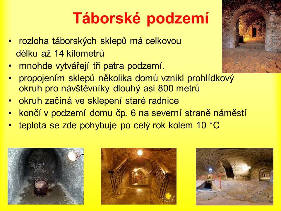 Táborské podzemí rozloha táborských sklepů má celkovou délku až 14 kilometrů mnohde vytvářejí tři patra podzemí. propojením sklepů několika domů vznik