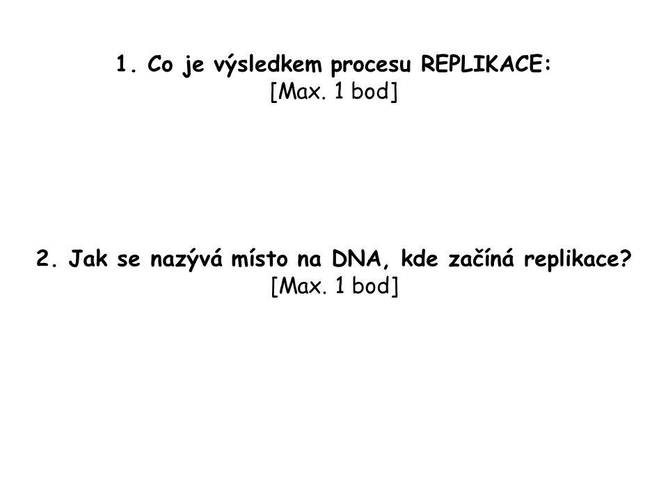 1. Co je výsledkem procesu REPLIKACE: [Max. 1 bod] 2.