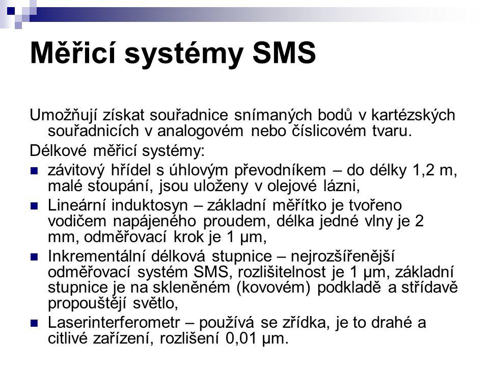 Měřicí systémy SMS Umožňují získat souřadnice snímaných bodů v kartézských souřadnicích v analogovém nebo číslicovém tvaru. Délkové měřicí systémy: zá