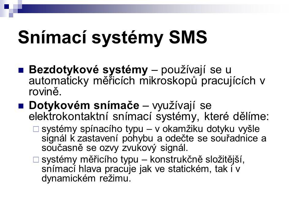Snímací systémy SMS Bezdotykové systémy – používají se u automaticky měřicích mikroskopů pracujících v rovině. Dotykovém snímače – využívají se elektr