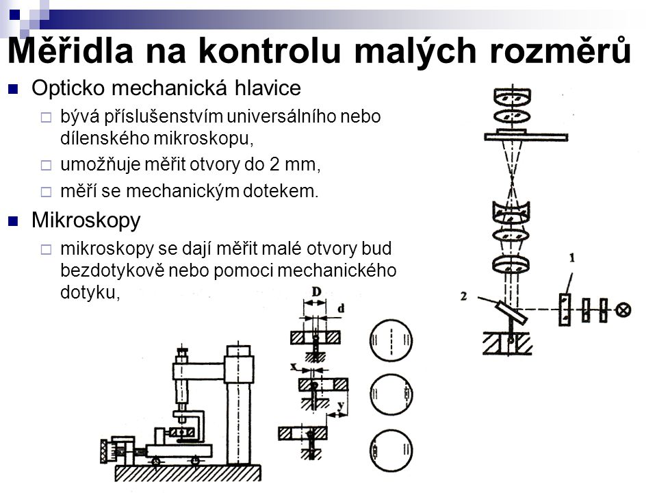 Měřidla na kontrolu malých rozměrů Opticko mechanická hlavice  bývá příslušenstvím universálního nebo dílenského mikroskopu,  umožňuje měřit otvory
