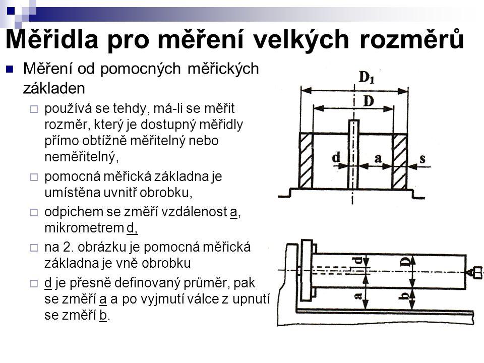 Měřidla pro měření velkých rozměrů Měření od pomocných měřických základen  používá se tehdy, má-li se měřit rozměr, který je dostupný měřidly přímo o