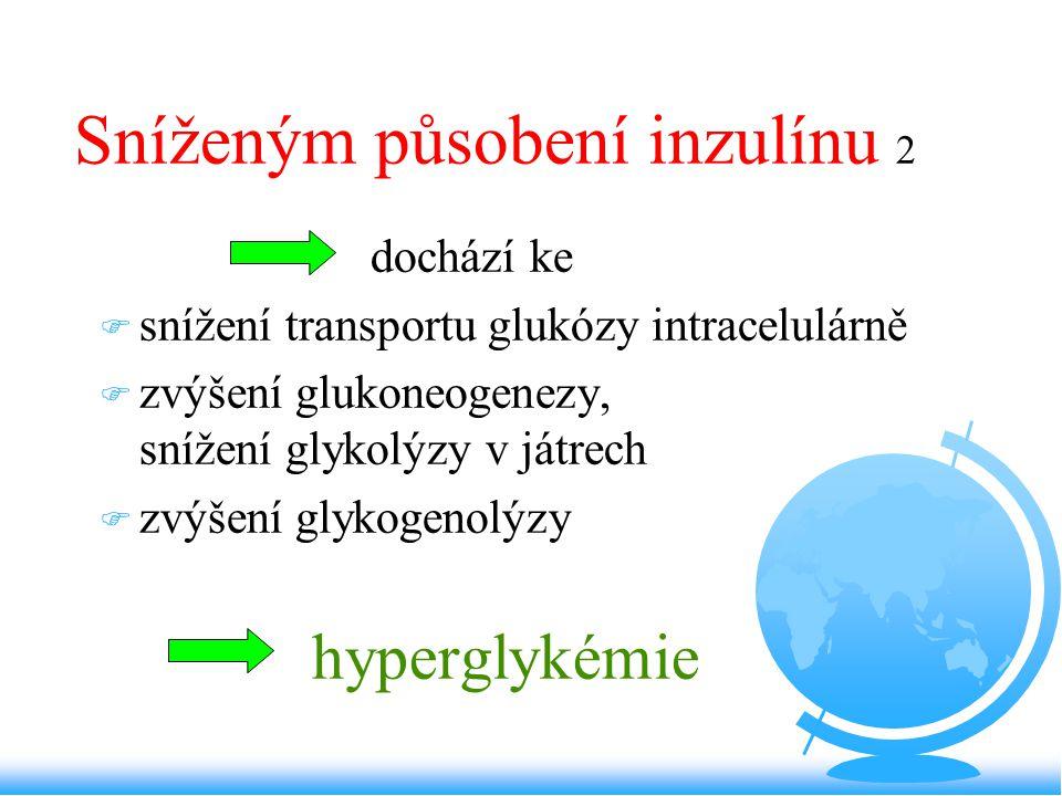 Sníženým působení inzulínu 2 dochází ke F snížení transportu glukózy intracelulárně F zvýšení glukoneogenezy, snížení glykolýzy v játrech F zvýšení gl
