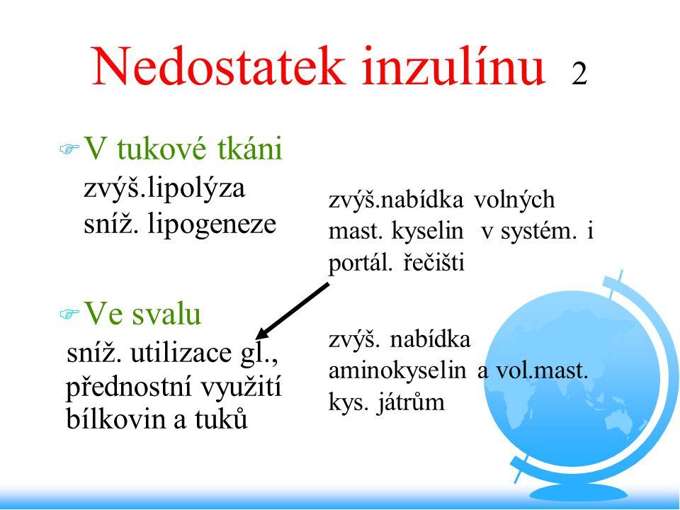 Nedostatek inzulínu 2 F V tukové tkáni zvýš.lipolýza sníž. lipogeneze F Ve svalu sníž. utilizace gl., přednostní využití bílkovin a tuků –zvýš.nabídka