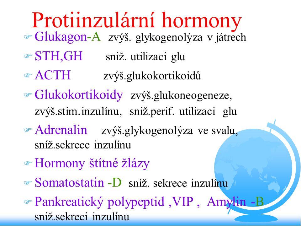 Protiinzulární hormony F Glukagon-A zvýš. glykogenolýza v játrech F STH,GH sniž. utilizaci glu F ACTH zvýš.glukokortikoidů F Glukokortikoidy zvýš.gluk
