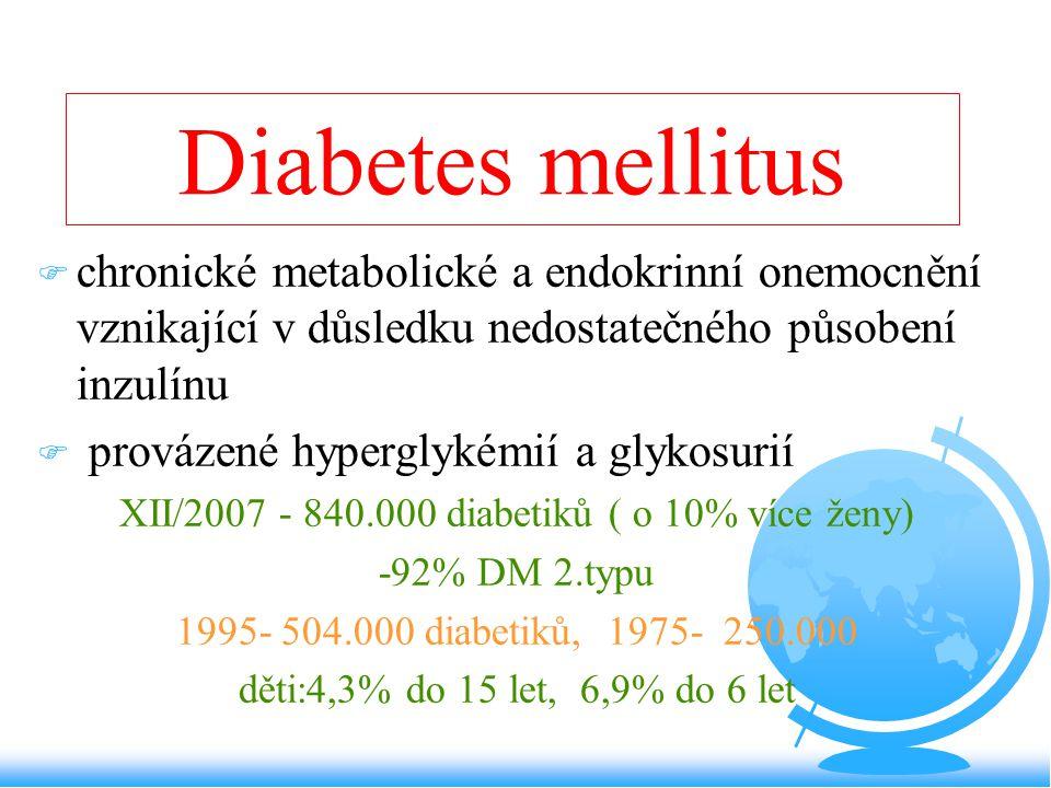 Diabetes mellitus F chronické metabolické a endokrinní onemocnění vznikající v důsledku nedostatečného působení inzulínu F provázené hyperglykémií a g