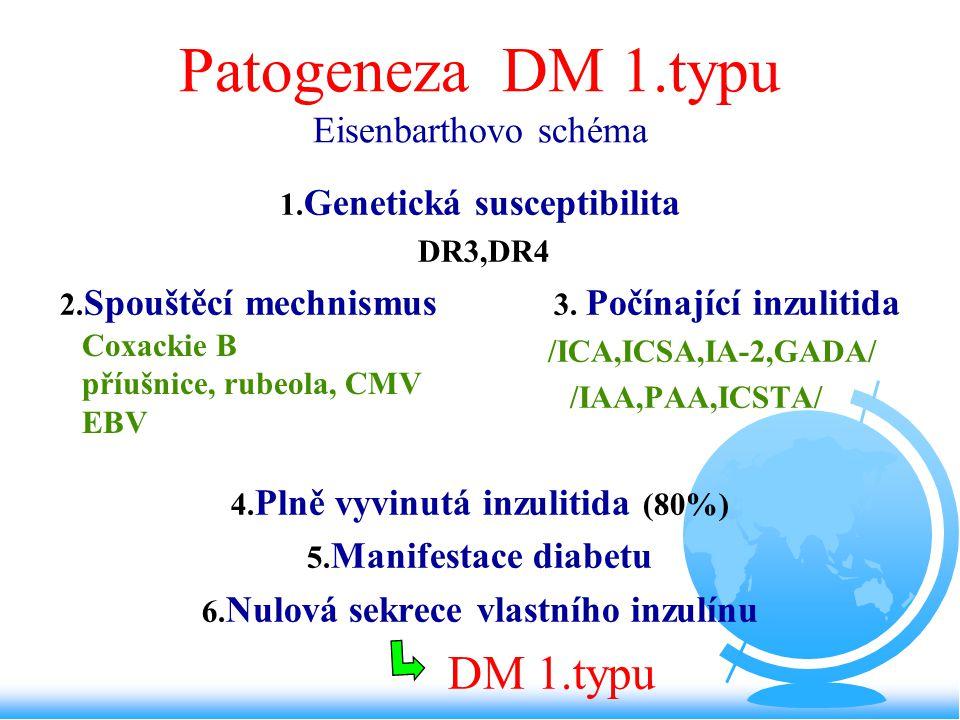 Patogeneza DM 1.typu Eisenbarthovo schéma 1. Genetická susceptibilita DR3,DR4 2. Spouštěcí mechnismus 3. Počínající inzulitida /ICA,ICSA,IA-2,GADA/ /I