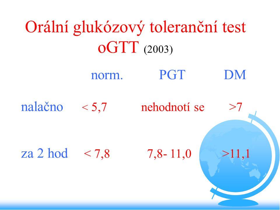 Orální glukózový toleranční test oGTT (2003) norm. PGT DM nalačno 7 za 2 hod 11,1
