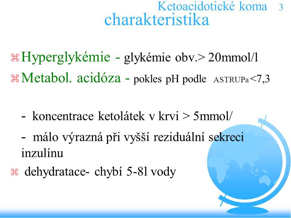 Ketoacidotické koma 3 charakteristika z Hyperglykémie - glykémie obv.> 20mmol/l z Metabol. acidóza - pokles pH podle ASTRUPa <7,3 - koncentrace ketolá