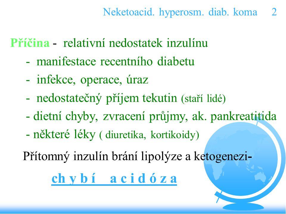 Neketoacid. hyperosm. diab. koma 2 Příčina - relativní nedostatek inzulínu - manifestace recentního diabetu - infekce, operace, úraz - nedostatečný př
