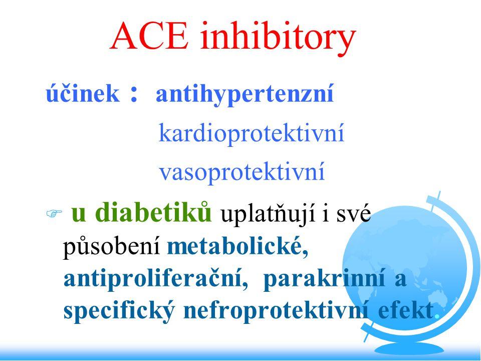 účinek : antihypertenzní kardioprotektivní vasoprotektivní F u diabetiků uplatňují i své působení metabolické, antiproliferační, parakrinní a specific