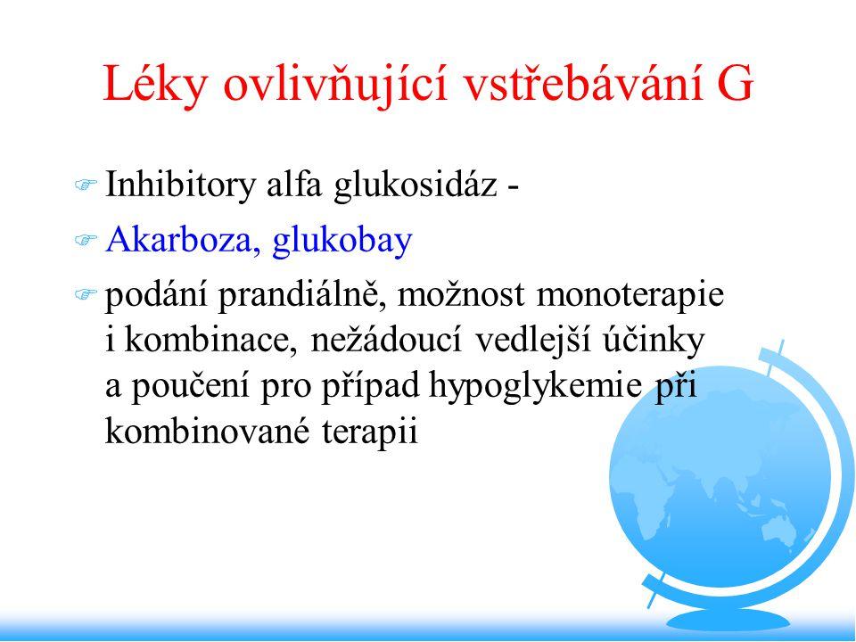 Léky ovlivňující vstřebávání G F Inhibitory alfa glukosidáz - F Akarboza, glukobay F podání prandiálně, možnost monoterapie i kombinace, nežádoucí ved