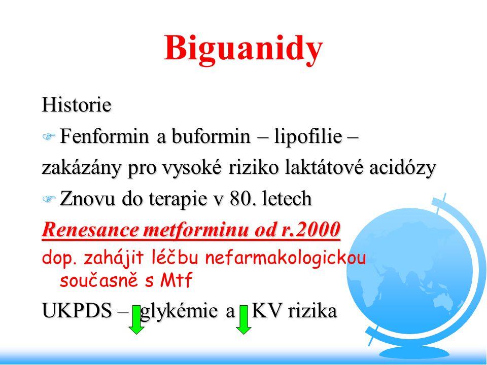 Biguanidy Historie F Fenformin a buformin – lipofilie – zakázány pro vysoké riziko laktátové acidózy F Znovu do terapie v 80. letech Renesance metform