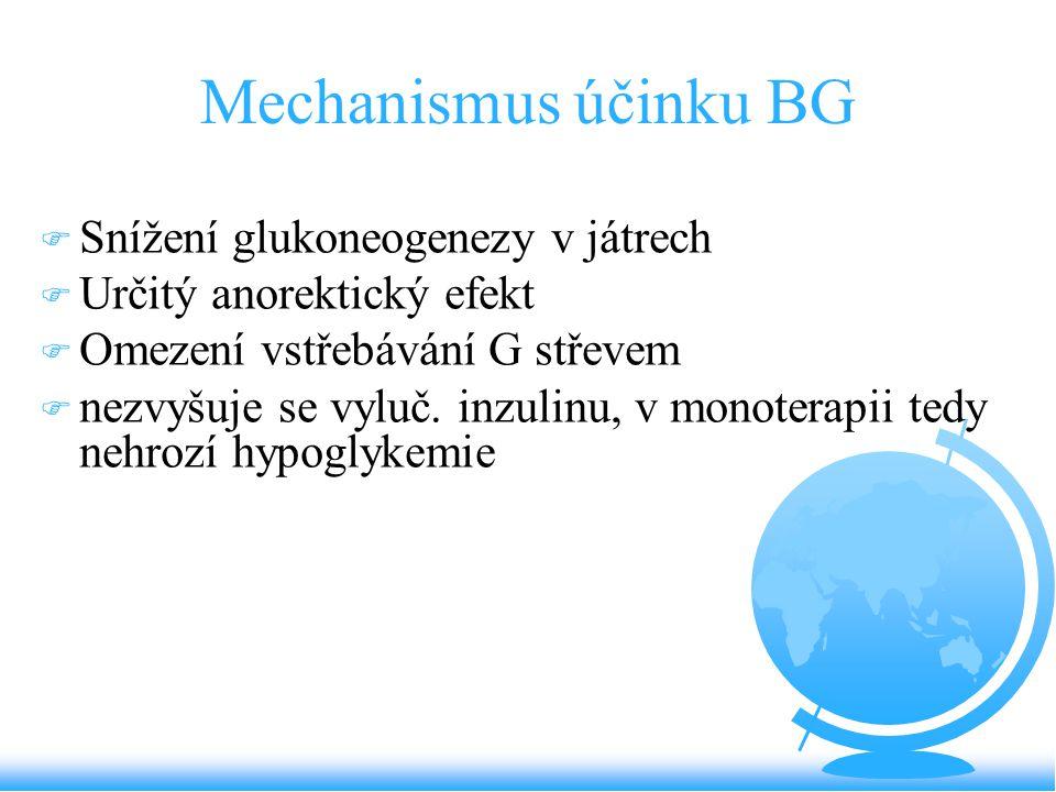 Mechanismus účinku BG F Snížení glukoneogenezy v játrech F Určitý anorektický efekt F Omezení vstřebávání G střevem F nezvyšuje se vyluč. inzulinu, v