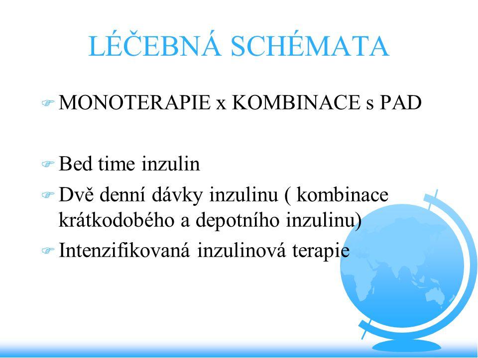 LÉČEBNÁ SCHÉMATA F MONOTERAPIE x KOMBINACE s PAD F Bed time inzulin F Dvě denní dávky inzulinu ( kombinace krátkodobého a depotního inzulinu) F Intenz