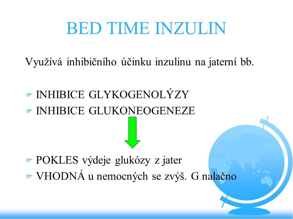 BED TIME INZULIN Využívá inhibičního účinku inzulinu na jaterní bb. F INHIBICE GLYKOGENOLÝZY F INHIBICE GLUKONEOGENEZE F POKLES výdeje glukózy z jater