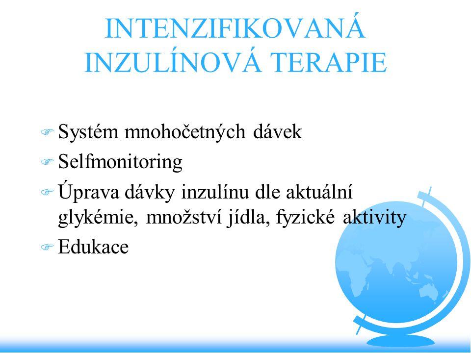 INTENZIFIKOVANÁ INZULÍNOVÁ TERAPIE F Systém mnohočetných dávek F Selfmonitoring F Úprava dávky inzulínu dle aktuální glykémie, množství jídla, fyzické