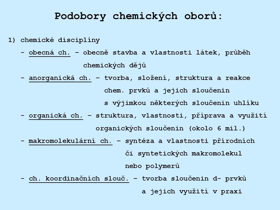 Podobory chemických oborů: 1) chemické disciplíny - obecná ch. – obecně stavba a vlastnosti látek, průběh chemických dějů - anorganická ch. – tvorba,