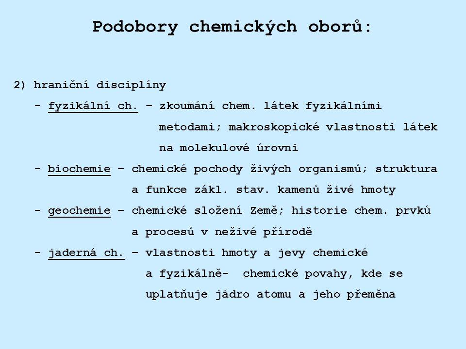 Podobory chemických oborů: 3) aplikované disciplíny - analytická ch.