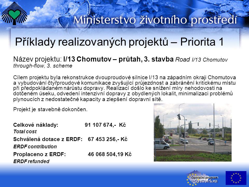 Příklady realizovaných projektů – Priorita 1 Název projektu: I/13 Chomutov – průtah, 3.