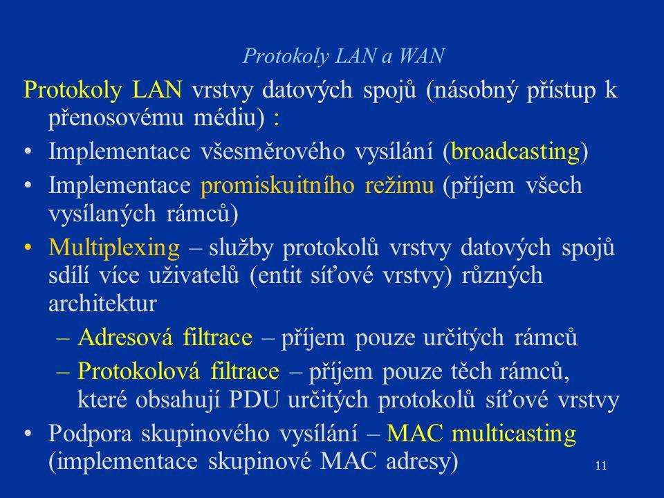 11 Protokoly LAN a WAN Protokoly LAN vrstvy datových spojů (násobný přístup k přenosovému médiu) : Implementace všesměrového vysílání (broadcasting) Implementace promiskuitního režimu (příjem všech vysílaných rámců) Multiplexing – služby protokolů vrstvy datových spojů sdílí více uživatelů (entit síťové vrstvy) různých architektur –Adresová filtrace – příjem pouze určitých rámců –Protokolová filtrace – příjem pouze těch rámců, které obsahují PDU určitých protokolů síťové vrstvy Podpora skupinového vysílání – MAC multicasting (implementace skupinové MAC adresy)