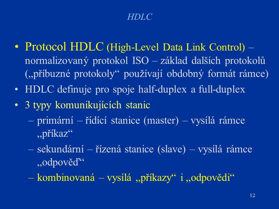 """12 HDLC Protocol HDLC (High-Level Data Link Control) – normalizovaný protokol ISO – základ dalších protokolů (""""příbuzné protokoly používají obdobný formát rámce) HDLC definuje pro spoje half-duplex a full-duplex 3 typy komunikujících stanic –primární – řídící stanice (master) – vysílá rámce """"příkaz –sekundární – řízená stanice (slave) – vysílá rámce """"odpověď –kombinovaná – vysílá """"příkazy i """"odpovědi"""