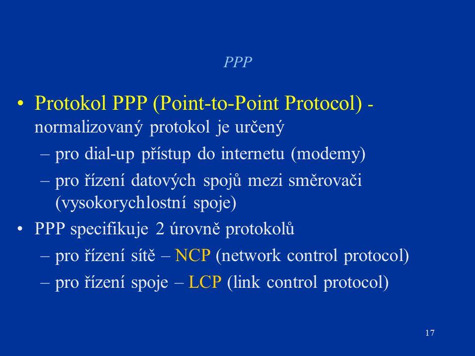 17 PPP Protokol PPP (Point-to-Point Protocol) - normalizovaný protokol je určený –pro dial-up přístup do internetu (modemy) –pro řízení datových spojů mezi směrovači (vysokorychlostní spoje) PPP specifikuje 2 úrovně protokolů –pro řízení sítě – NCP (network control protocol) –pro řízení spoje – LCP (link control protocol)
