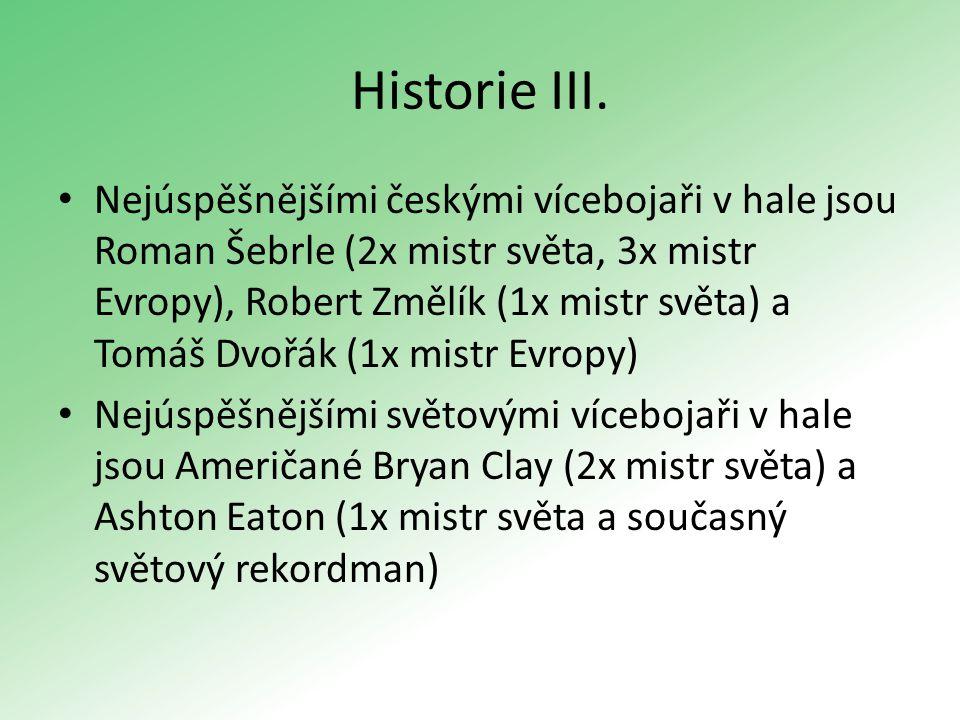 Historie III. Nejúspěšnějšími českými vícebojaři v hale jsou Roman Šebrle (2x mistr světa, 3x mistr Evropy), Robert Změlík (1x mistr světa) a Tomáš Dv