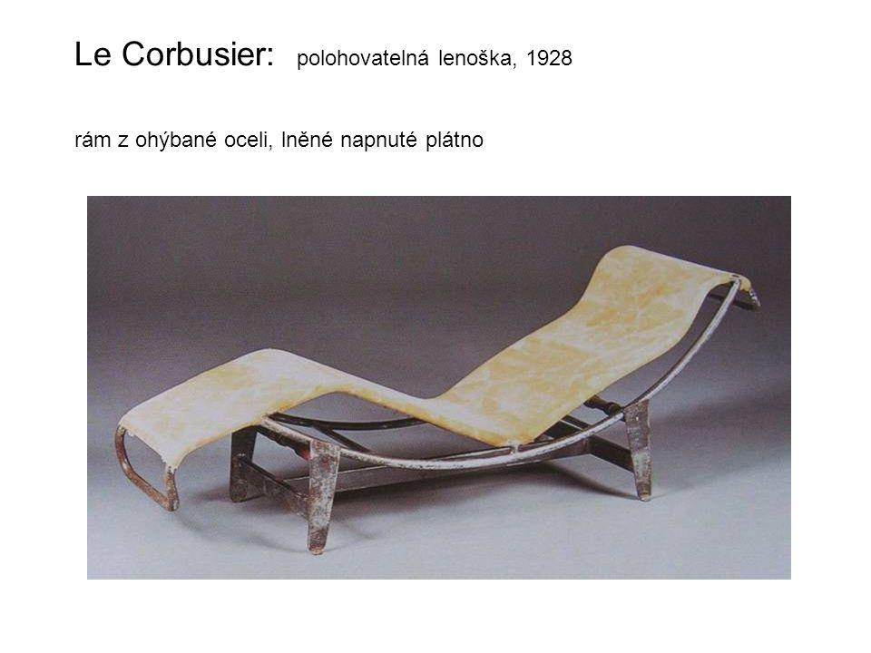 Le Corbusier: polohovatelná lenoška, 1928 rám z ohýbané oceli, lněné napnuté plátno