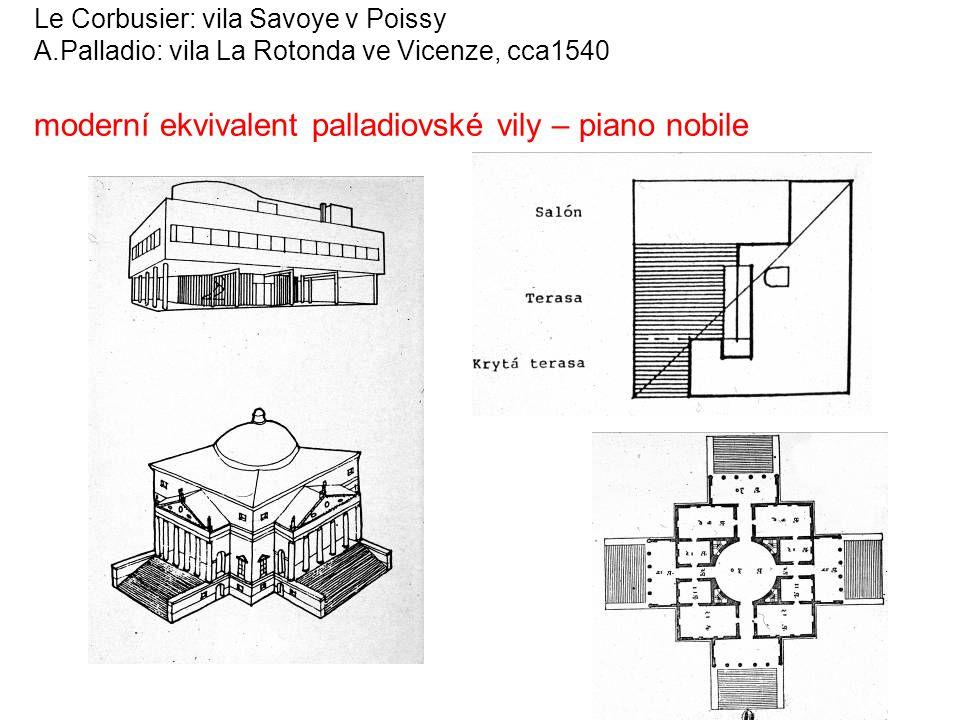 Le Corbusier: vila Savoye v Poissy A.Palladio: vila La Rotonda ve Vicenze, cca1540 moderní ekvivalent palladiovské vily – piano nobile
