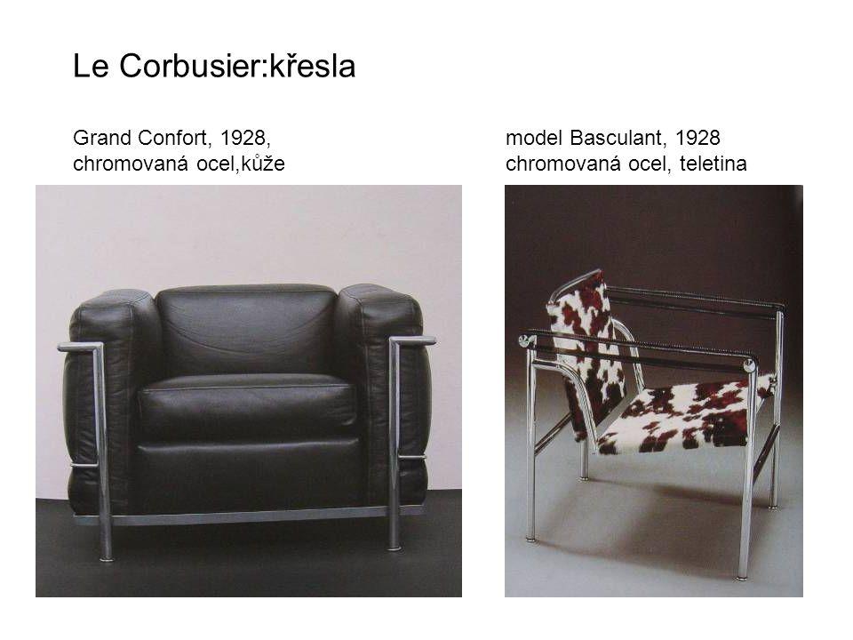 Le Corbusier:křesla Grand Confort, 1928, model Basculant, 1928 chromovaná ocel,kůže chromovaná ocel, teletina