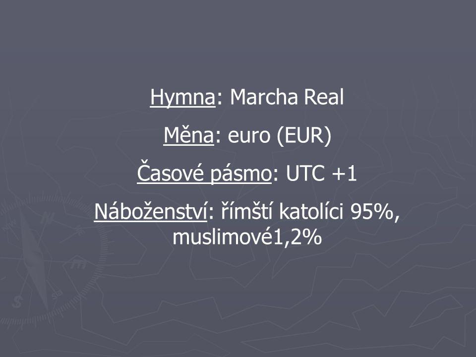Hymna: Marcha Real Měna: euro (EUR) Časové pásmo: UTC +1 Náboženství: římští katolíci 95%, muslimové1,2%