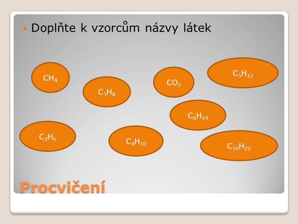 Procvičení Doplňte k vzorcům názvy látek CH 4 C2H6C2H6 C3H8C3H8 C 4 H 10 CO 2 C 5 H 12 C 6 H 14 C 10 H 22